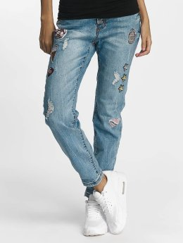 Rock Angel Rosie Badges Loose Fit Jeans Middle Blue Denim