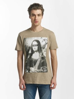 SHINE Original T-Shirt Collin Denim Rebel Print braun