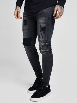 Sik Silk Antifit jeans Drop Crotch Patch svart