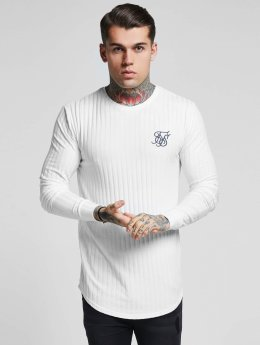 Sik Silk Camiseta de manga larga Rib Knit Gym blanco