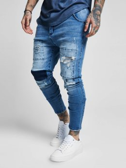 Sik Silk Jean carotte antifit Drop Crotch Patch bleu