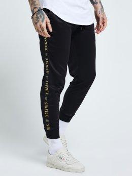 Sik Silk Jogging kalhoty Cuffed Tape čern