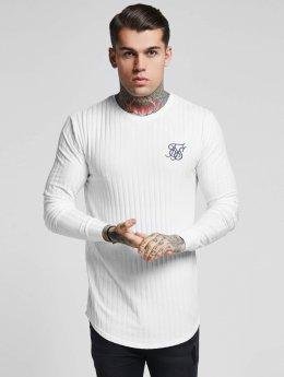 Sik Silk Maglietta a manica lunga Rib Knit Gym bianco