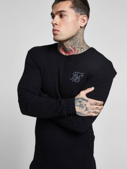 Sik Silk Maglietta a manica lunga Rib Knit Gym nero