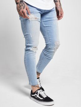 Sik Silk Skinny Jeans Distressed blå