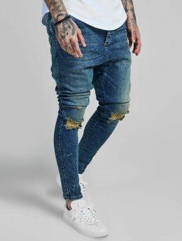 Sik Silk Skinny Jeans Western Drop Crotch blau
