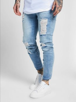 Sik Silk Skinny Jeans Skinny Distressed modrý
