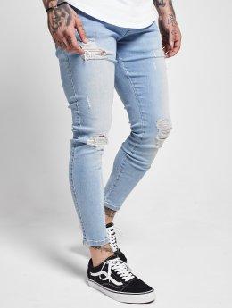 Sik Silk Skinny Jeans Distressed niebieski
