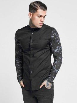 Sik Silk Skjorta Contrast Sleeve Grandad Collar svart