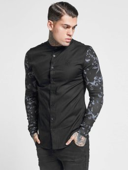 Sik Silk Skjorte Contrast Sleeve Grandad Collar sort