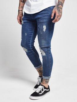 Sik Silk Slim Fit Jeans Distressed blå