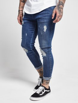 Sik Silk Slim Fit Jeans Distressed blu
