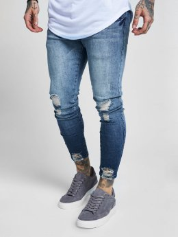 Sik Silk Slim Fit Jeans Jagged Hem modrý