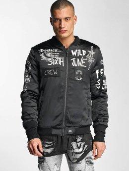 Sixth June Bomber jacket Flock Print Satin  black