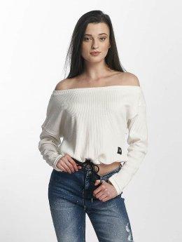 Sixth June Frauen Pullover Oversize Cold Shoulder in weiß