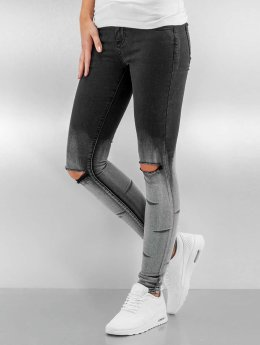 Sixth June Skinny Jeans Washed Destroyed schwarz
