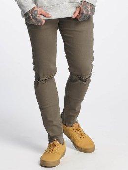 Sixth June Slim Fit Jeans Destroyed Knee olijfgroen