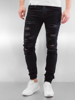 Sixth June Slim Fit Jeans Destroyed schwarz