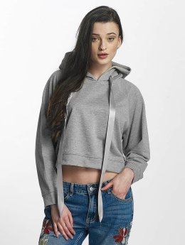 Sixth June Cropped Sweat Hoody Light Grey Melange
