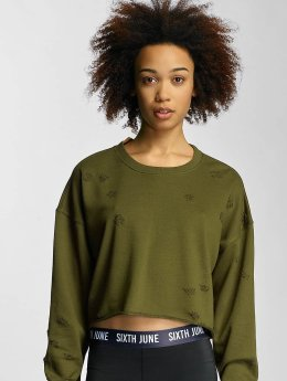 Sixth June Sweat & Pull Destroyed Cropped kaki
