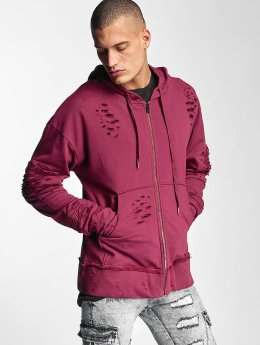 Sixth June Sweat capuche zippé Destroyed Zip Up rouge