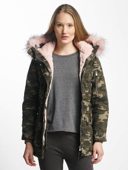 Sixth June Winterjacke Oversize With Fake Fur Hood camouflage