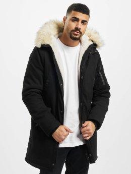 Sixth June Männer Winterjacke Fur in schwarz