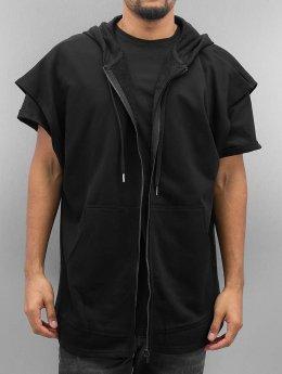 Sixth June Zip Hoodie Oversized Sleeveless schwarz