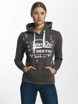 Superdry Bluzy z kapturem Premium Goods Doodle Entry szary