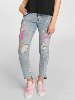 Superdry Jean coupe droite Riley Girlfriend bleu