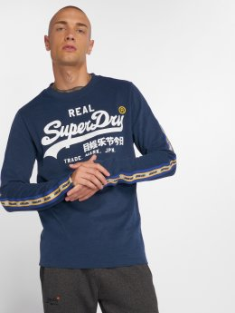 Superdry Longsleeves Vintage Logo Panel Stripe modrý