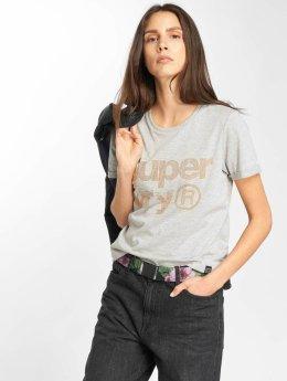 Superdry t-shirt Rhinestone Boxy grijs