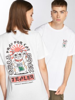 Tealer T-Shirt Pray For Cat weiß