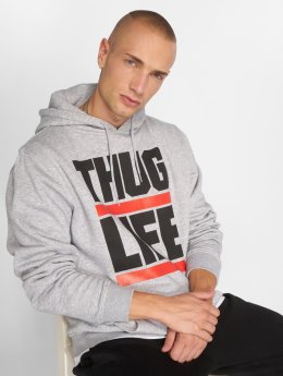 Thug Life Basic Bluzy z kapturem Basic Block Logo szary