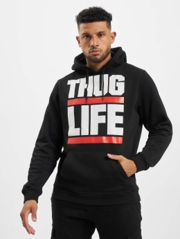 Thug Life Basic Hoodies Block Logo čern