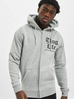 Thug Life Basic Zip Hoodie Chest Cities grå