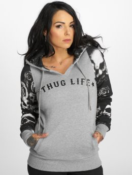 Thug Life Hoodies Skullpattern grå