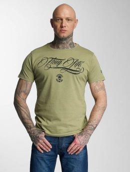 Thug Life Kursiv T-Shirt Olive