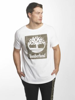 Timberland T-Shirt Camo Logo Linear And Tree blanc