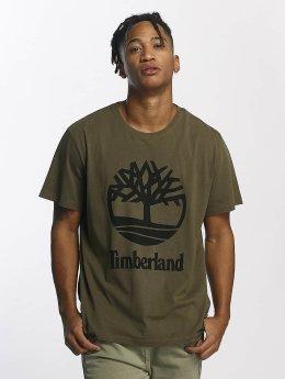 Timberland T-shirt Linear Basic Stacked oliva