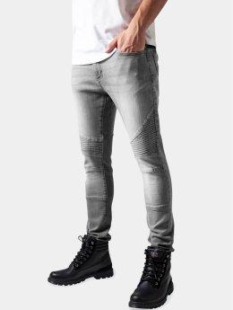Urban Classics Облегающие джинсы Slim Fit Biker серый