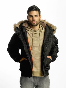Urban Classics Bomberjack Hooded Heavy Fake Fur Bomber zwart