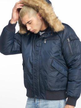 Urban Classics Bomberjacke Hooded Heavy Fake Fur Bomber blau
