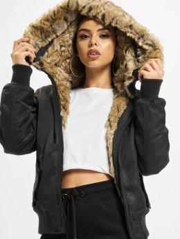 Urban Classics Bomberjacke Imitation Fur schwarz