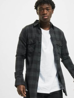 Urban Classics Camisa Side Zip Leather Shoulder Flanell negro