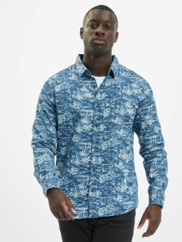 Urban Classics Hemd Printed Palm Denim blau