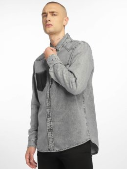 Urban Classics Hemd Denim Pocket grau