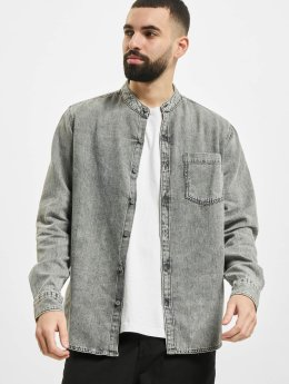Urban Classics Hemd Low Collar grau