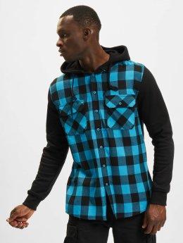 Urban Classics Hemd Hooded Checked Flanell Sweat Sleeve türkis