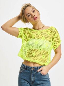 Urban Classics Hihattomat paidat Ladies Short Mesh keltainen
